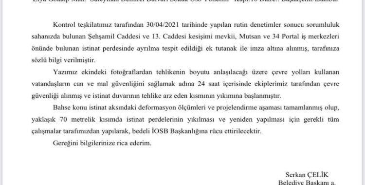 Başakşehir Belediyesi'nden çöken yol ve istinat duvarıyla ilgili açıklaması